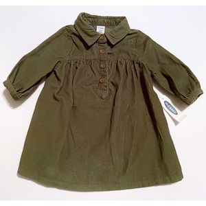 NWT Old Navy Olive Corduroy Dress 3-6 Months